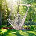 Hammock Chair Super Large Hanging Chair,Cotton Rope Weaving Chair, Hardwood Spreader Bar Wide Seat Lace Swing Chair Indoor Outdoor Garden Yard Theme Decoration