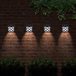 4pcs Waterproof Solar Power LED Light Wall-mounted, Solar Deck Lights Solar Garden Lights, Weatherproof LED Deck Lights Solar Powered Outdoor Landscape Light