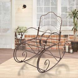 Paint Sun Shape Outdoor Garden Single Iron Art Rocking Chair, Comfortable Size Outdoor Patio Furniture Chair, Easy to Assemble Metal Patio Rocker, Curved Arms Patio Rocking Chair for Garden Deck, T99