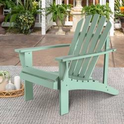 Wooden Outdoor Chairs, Outdoor Adirondack Lounge Chair, Adirondack Lawn Chairs w Back & Arm, Poolside Lounge Chair, Outdoor Chair Garden Balcony Backyard Patio Furniture, Green, W8127