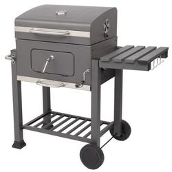 Outdoor Portable Charcoal Grills, Portable BBQ Square Oven Charcoal, Portable BBQ Grill with Temperature Gauge and Enameled Grates, Charcoal BBQ Grill w/2 wheels for Patio, Porch, Picnic, S9449