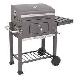22.8'' Outdoor Charcoal Grill with 2 wheels, Portable BBQ Charcoal Grill with Bottom Shelf, BBQ Charcoal Grill w/Temperature Gauge and Enameled Grate, Cooking Grate for Steak Chicken, S9463