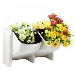 Novobey Stackable Planters Vertical Garden,Mini Desktop Planter Flower Pot Wall Vertical Flower Pot Desk Ornament Garden Plant Pot Home Office Decor