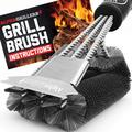 Grill Brush and Scraper. Best BBQ Cleaner. Perfect Tools for All Grill Types, Including Weber. Stainless Steel Wire Bristles and Stiff 18 Inch Handle. Ideal Barbecue Accessories