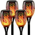 Upgraded 4Pack Solar Tiki Torches Light, Solar Lights Outdoor, 96LED Solar Torch Lights with Dancing Flickering Flames, Waterproof Landscape Decoration Flame Lights for Garden Pathway Yard-Auto On/Of