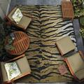 Couristan 4' x 6' Gold Animal Print Dolce Bengal New Outdoor Rug