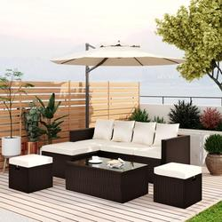 Pannow 5-Piece Patio Furniture PE Rattan Wicker Sectional Lounger Sofa Set with Glass Table and Adjustable Chair,Outdoor Furniture,Furniture Stores Near Me,Furniture Sets,Brown & Beige