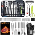 Leonyo BBQ Grill Accessories Heavy Duty Grill Utensils 32 PCS Set Extra Thick Stainless Steel BBQ Grilling Tools with Nylon Carry Bag Great Gift Christmas for Men in Camping Backyard Barbe