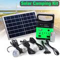 Solar Lights Indoor Home with 2/3 Hanging LED Bulbs, 3/6W Solar Panel, Cell Phone Charger, Lithium Battery, Outdoor Waterproof Solar Lights for Garden, Yard, Camping, Shed, Barn