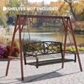 LCH Patio Swing Bench Outdoor Bench Garden Bench for Patio Metal Bench Park Bench Cushion for Yard Porch, Black