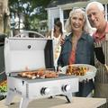 2021 New Stainless Steel Propane Gas Grill, Portable Two-Burner BBQ Grill, Outdoor Grill with Foldable Leg for Camping Picnics, 20000 BTU