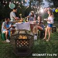 """Outdoor Bonfire Pit, 24"""" Outdoor Hexagon Metal Fire Pit, Wood Burning BBQ Grill Fire Pit Bowl with Spark Screen, Poker, Backyard Patio Garden Fire Pit for Camping, Heating, Bonfire, Picnic, L6270"""