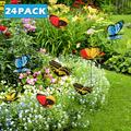 Willstar 24Pcs Garden Butterfly Stakes Outdoor Yard Planter Flower Pot Bed Ornaments Decor Butterflies on Metal Wire Plant Stake