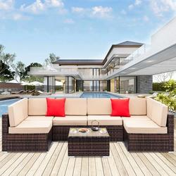 7PCS Outdoor Patio Furniture, All-Weather Wicker Patio Sectional Sofa Set, Rattan Sofa Set for Backyard, Durable Outdoor Garden Cushioned Seat with Coffee Table, Bistro Table Set for Poolside, Q8101