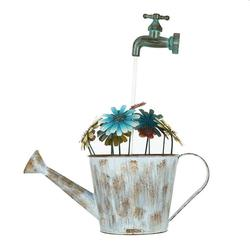 Tooarts Outdoor Iron Fountain Flower Pot Fountain Water Pump Cascading Water Fountain Decorative Stopcock Garden Decoration( plug)