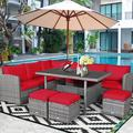 Costway 7 PCS Patio Rattan Dining Set Sectional Sofa Couch Ottoman Garden White\Red\Black