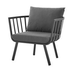 Contemporary Modern Urban Designer Outdoor Patio Balcony Garden Furniture Armchair Lounge Chair, Aluminum Fabric, Grey Gray