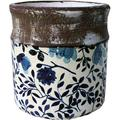 """Old World Ceramic Blue and White Asian Floral Round planters or Garden Pot (Small Round 6 3/8 inches Tall x 6 3/8"""" Diameter)"""