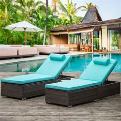 Chaise Lounges for Beach, 2Pcs Patio Furniture Set with Head Pillow, Outdoor Chaise Lounge Chairs with Adjustable Back, All-Weather Rattan Reclining Lounge Chair for Backyard, Garden, Pool, LLL1553