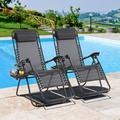Jamfly Set of 2 Outdoor Adjustable Zero Gravity Chair, Patio Folding Lawn Outdoor Lounge Chair, Camp Reclining Chair with Pillows and Cup Holde for Poolside Backyard and Beach Black