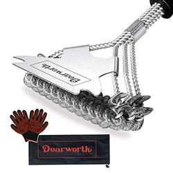 Dearworth Grill Brush and Scraper Bristle Free - Safe BBQ Brush for Grill - BBQ Cleaner Accessories - Grill Cleaner/Cleaning Brush for Charcoal / Porcelain / Gas Grills with BBQ Gloves and Storage Bag