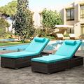 Wicker Patio Lounge Chairs, 2 Pieces Outdoor Chaise Lounge with Head Pillows, All Weather Recliner Chairs with 5 Angles and Soft Cushions, Reclining Pool Beach Deck Backyard Porch Chair, JA2924
