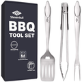 STEVEN-BULL Heavy Duty BBQ Grilling Tool Sets, Extra Thick Stainless Steel Spatula Fork and Tongs, Extra Long Grill Accessories, 18 Inch, Best for Barbecue & Grilling, Gift Box Package