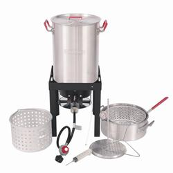Creole Feast, TFS3010, Premium Aluminum 30 Qt. Turkey and 10 Qt. Fish Fryer Boiler Steamer Set, 50,000 BTU Burner, Ideal for Outdoor Cooking