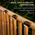 4 Pcs Led Solar Deck Lights , Solar Step Lights Auto On/Off Solar Powered Outdoor ,Waterproof Led Solar Fence Lamp for Patio Pool ,Steps,Fence,Deck,Railing and Stairs (Warm White)