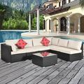 Outdoor Sectional Sofa Set, 7 Piece Wicker Rattan Sectional Sofa Lounge Set with Glass Coffee Table, Spacious Outdoor Patio Furniture Set, Multi-Person Casual Conversation Set, Beige Cushion, Y0195