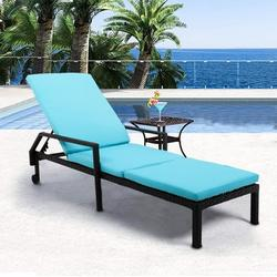 Patio Rattan Lounge Chair Chaise Recliner, Outdoor Patio Furniture Set for Poolside Garden Beach, Reclining Rattan Lounge Chair Chaise Couch Cushioned with Adjustable Back, 2 Wheels, 1PC, Q17042