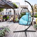 SEVENTH Egg Chair, Swing Hanging Chair, Patio Egg Chair with Metal Frame and C Type Bracket, Indoor-Outdoor Patio Wicker Hanging Egg Chair, Modern Hammock Chair with Cushion and Pillow, Blue, L1672