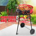 17x28inch Portable Charcoal Kettle Grill Premium Charcoal Stove Metal Trolley Iron BBQ Barbecue Grills Stainless Steel Garden Outdoor Camping Cooking