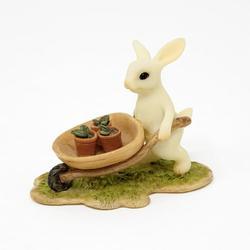 Bunny Gardener Pushing Wheelbarrow, Mini Rabbit, Mini Bunny, Bunny Gardener, Rabbit Gardener, Fairy Garden Animals, Fairy Garden