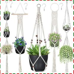 Macrame Plant Hangers, Hanging Planters Set of 5 with 5 Hooks, Hanging Planters for Indoor and Outdoor Plant Décor, Different Tier (5 Sizes)