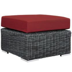 Modern Contemporary Urban Design Outdoor Patio Balcony Garden Furniture Lounge Chair Ottoman, Sunbrella Rattan Wicker, Red