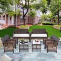 8-Piece Outdoor Wicker Furniture Sofa Chair Sets, Patio Furniture Rattan Furniture Conversation Sets with Seat Cushions, Tempered Glass Coffee Dining Table, Garden Wicker Sets for Backyard, S6737