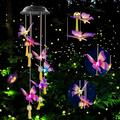 Black Color Butterfly Bell solar butterfly wind chimes butterfly gifts solar Bell butterfly lights outdoor solar hanging lights gardening gifts gifts for mom garden decor solar butterfly gifts
