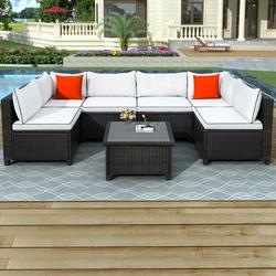 7 Pieces Patio Conversation Sofa Set, Low Back Outdoor Patio Furniture Set, PE Rattan Sectional Sofa with Tea Table & Couch Cushions, Garden Poolside Backyard Porch Outdoor Wicker Sofa Set, JA1839