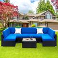 UHOMEPRO 7-Piece Outdoor Furniture, Patio PE Rattan Wicker Sectional Sofa Set with Two Pillows, Coffee Table, All Weather Outdoor Couch, Durable Chat Set for Porch Poolside Balcony, Dark Blue, Q9897