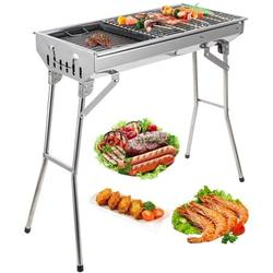 """Portable Charcoal Grill, SEGMART 28"""" Outdoor BBQ Grill Charcoal Small Portable Charcoal Grill, Folding Charcoal Barbecue Grill w/ Handle & Adjustable Grate, Stainless Steel, Easy Clean, Silver, H387"""