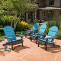 """Set of 4 Gray and Teal Blue Contemporary Outdoor Patio Adirondack Chairs with Cushions 35.75"""""""