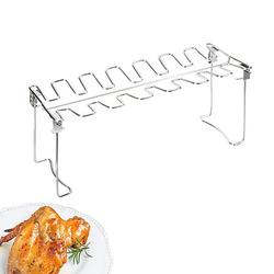 1PC BBQ Rack Practical Barbecue Accessories Stainless Steel Drumsticks Grill Foldable BBQ Grill Rack Portable Outdoor Barbecue Rack for Park Kitchen