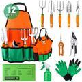 UKOKE Garden Tool Set, 12 Piece Aluminum Hand Tool Kit, Garden Canvas Apron with Storage Pocket, Outdoor Tool, Heavy Duty Gardening Work Set with Ergonomic Handle, Gardening Tools for women men