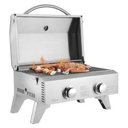SEGMART Portable Tabletop Gas Grill with 2-Burner, 20,000 BTU Propane Grill, Outdoor Mini BBQ Grill with Foldable Legs for Picnic Camping Tailgating Patio Garden BBQ - Stainless Steel, B156
