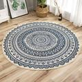 Clearance! Cotton Rugs Round Washable Chic Bohemian Hand Woven Round Rugs with Tassels Indoor Throw Area Rug for Living Room Kids Room