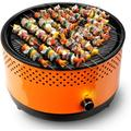 BUERK Portable Charcoal BBQ Grill Hibachi Grill Korean BBQ Grill Small&Mini Grill Suitable for Camping Indoor Outdoor Tabletop Picnic ,Orange