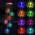 ME9UE Solar Sunflowers Wind Chimes, Outdoor Waterproof Mobile Romantic Color-Changing LED Solar Powered Wind Chimes Lights for Home, Yard, Night Garden, Party, Festival Decoration, Valentines Gift