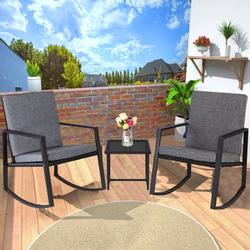 3 Pieces Wicker Rocking Chair, Wicker Patio Furniture with 2 Rocking Chairs and Glass Side Table, Patio Lounge Chair Set for Yard, Garden, Rocking Bistro Patio Set, Black Outdoor Wicker Chairs, W2129