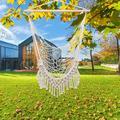 Portable Hammock Swing, Cotton Rope Sling with Tassel, Out/Indoor Hammock Swing Hanging Chair, Hanging Rope Chair, Terylene Hanging Hammock Chair Air Chair, Lightweight Hammock Swing, Beige, Y1654